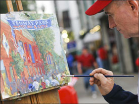 Kevin Shea, painting on Yawkey Way