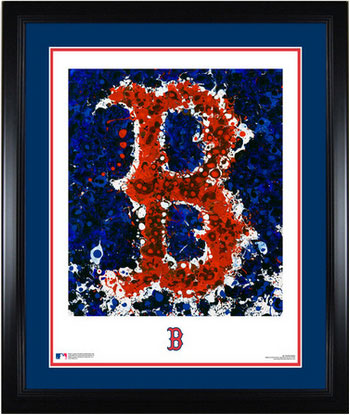 Framed and matted Boston logo art