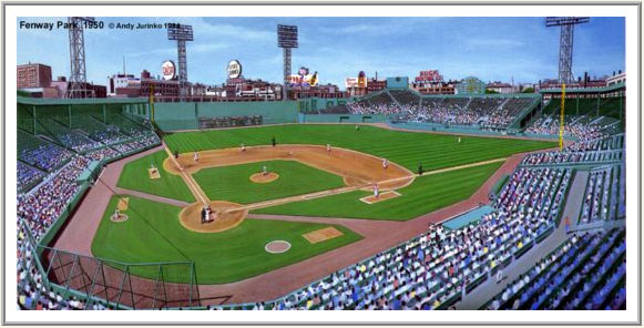 1950 Fenway Park lithograph by Andy Jurinko