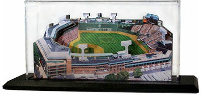 Fenway Park model in display case