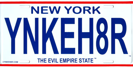 New York Evil Empire State Yankee Hater License Plate