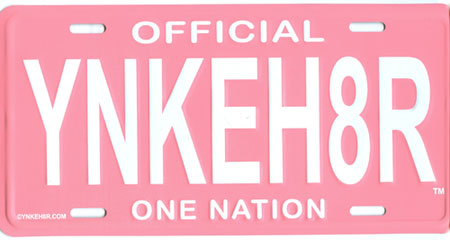 Official Pink Yankee Hater License Plate