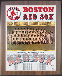 Red Sox 1967 American League Champions Healy plaque