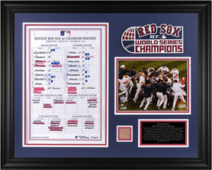Red Sox World Series collectible featuring lineup card and dirt
