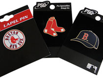 Red Sox hat and logo pins