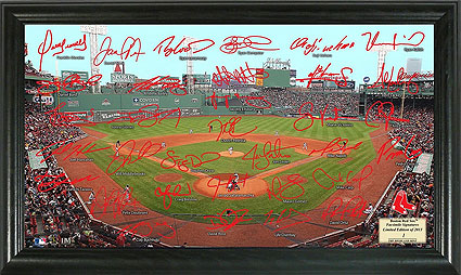 Fenway Park photo with signatures
