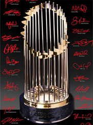 2013 World Series trophy photo with Red Sox player signatures